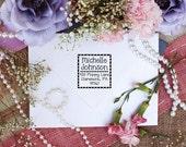 Self Inking Square Polka dot Border Personalized return address stamp --2527