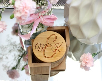 Personalized Coaster Set, Custom Wood Coaster Set, Round Wood Coaster, Monogrammed Initials Coaster Set- Set of 6 --22016-CST1-001