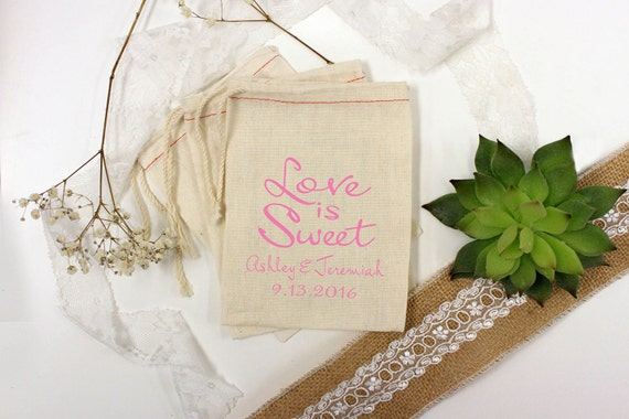 Wedding Gift Bags Printed : Custom Wedding Favor Bags, Love Is Sweet, Personalized Wedding Favors ...