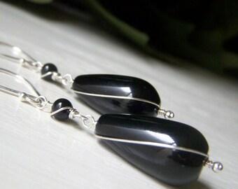 Black Onyx Earrings Sterling Silver, Wirewrapped Gemstone Teardrop Dangle, Large Black Teardrop Earrings, Handmade Jewelry
