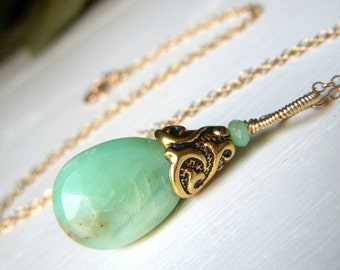 Chrysoprase Briolette Necklace Goldfill Green Wirewrapped Simple Pendant, Gold Filled Mint Green Gemstone Minimalist Necklace