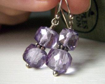 Violet Gemstone Earrings, Violet Quartz Dangle, Sterling Earrings, Stacked Lilac Gemstone Cube Dangle Earrings, Lavender Cube Earrings