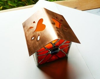 Flowers and Hearts Fairy House - Stained Glass Tea Light Candle Holder