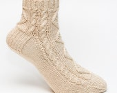 Custom ORDER for Stephanie ONLY Short Cotton Cable Socks- 2 pairs-Ivory & White