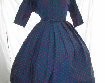 Navy Dot Vintage 50s Dress Full Skirt red circles vintage Lanz Dress 50s shirtwaist style M