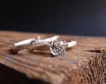 Engagement Ring Set Wedding Band Set White Topaz Unique Engagement Ring Rustic Weddings Bridal Set