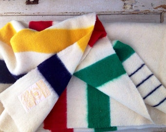 Gold Medal... Vintage Hudson Bay Wool Striped Blanket Four Points 4 Point  Traders Blanket England