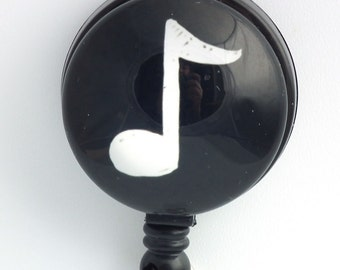 Magnetic Retractable ID Badge - Music Note with Black Badge Reel 248