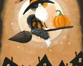 Calico Witch - Halloween Cat Folk Art Print 5x7, 8x10, 11x14, 16x20