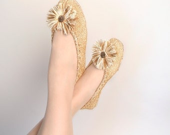 Vintage Gold Slippers - Boudoir Golden Knit Flats with Pom Pom Toes - Size 9 10