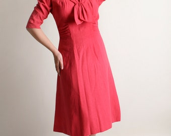 Vintage 1960s Wool Dress - Lipstick Magenta Red Classic 60s A-Line Dress with Necktie - R & K Originals - Medium