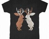 Jackalopes - Unisex Mens T-shirt Tee Shirt Cute Woodland Bunny Rabbit Deer Antlers Forest Antelope Nature Fairytale Fantasy Animals Tshirt