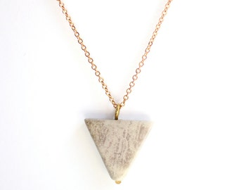 Minimalist Long Jasper Triangle Necklace - 14k Gold Filled | Sterling Silver