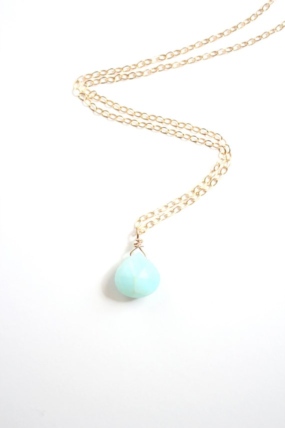 Mint Peruvian Opal Briolette Necklace - Gold Filled | Sterling Silver