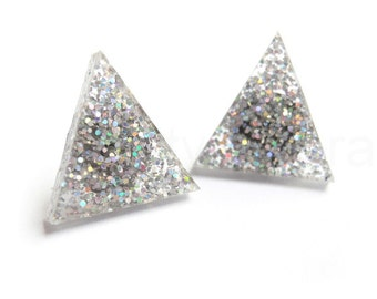 Holographic Triangle Earrings,Silver Glitter Earrings,Winter Wonderland,Glitter Jewelry,Sparkle Earrings,Triangle Geometric Jewelry (E242)