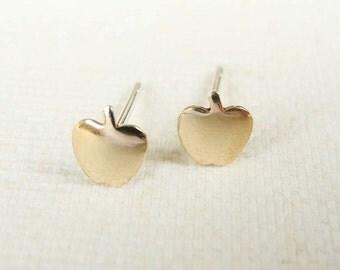 Apple Earring Studs,Gold Apple Earrings,Tiny Gold Brass Earrings,Apple Jewelry,Fruit Jewelry,Sterling Silver Hypoallergenic Earrings (E247)