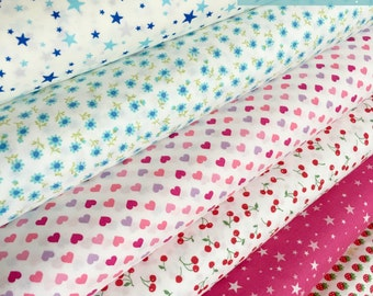 Japanese fabric bundle by Sevenberry, Popular fabric, Tiny prints great for Blythe doll clothes or mini quilt, Bundle of 6, Choose the cut
