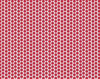 SALE fabric, Red Fabric, Cotton Fabric, Polka Dot Fabric, by Riley Blake and Fabric Shoppe- Honeycomb Dot in Red. You Choose the Cut