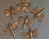 Dragonfly Charms - 6 pcs - Hand Antiqued Brass - Small Dragonfly Charms - Patina Queen