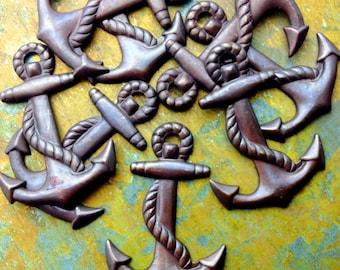 Anchor Charms - 4 pcs - Hand Antiqued Brass - Medium Anchors - Nautical Charms - Beach Charms - Patina Queen