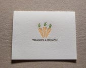 Thanks a Bunch Punny Food Letterpress Greeting Card with Envelope