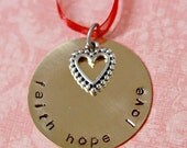 Brass Hand Stamped Faith Hope Love Christmas Ornament