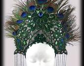 Peacock Feather Headdress, Fantasy Costume Headdress, Green and Blue Headdress, Kokoshnik
