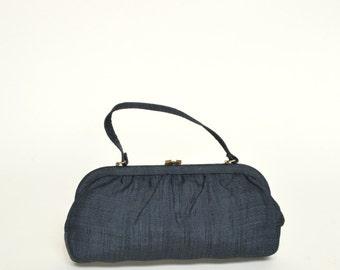 SALE /// Vintage Black Purse --- 1950s Handbag