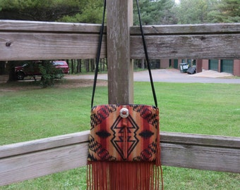 Fringed Suede Cross Body Bag Purse Shoulder Leather Native American Print Southwest Style
