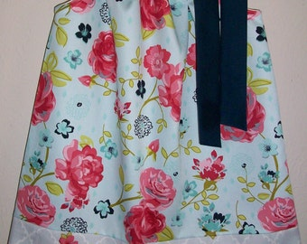 Girls Dress Pillowcase Dress Floral Dress Twill Dress Coral and Navy Dress with Flowers baby dress toddler dress with Roses
