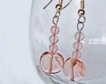 Pretty N Pink Earrings, Rose Quartz, Pierced, Sterling Silver