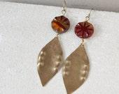 Leaf earrings in orange, gold brass, long statement earrings, fall fashion, tribal boho bold earrings