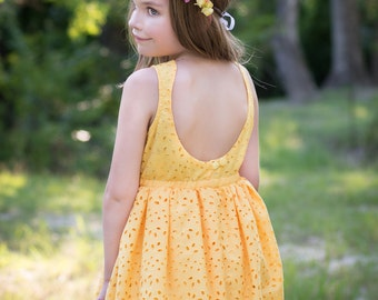 Yellow Eyelet Girls Dress, Flower Girl Dress, Yellow Wedding, Yellow Flower Girl Dress, Yellow Birthday Party Dress, Toddler Flower Girl