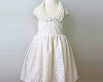 Creamy Ivory Eyelet Pearl Bib Dress for Toddler and Girl