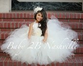 Wedding Flower Girl  Dress in Ivory Satin and lace with Chiffon Flower Sash Tutu Dress  All Sizes Girls
