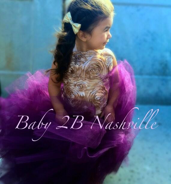 Plum Flower Girl Dress Vintage Satin Flower Girl Dress Tulle Dress Wedding Dress Birthday Dress Toddler Tutu Dress Girls Dress All Sizes
