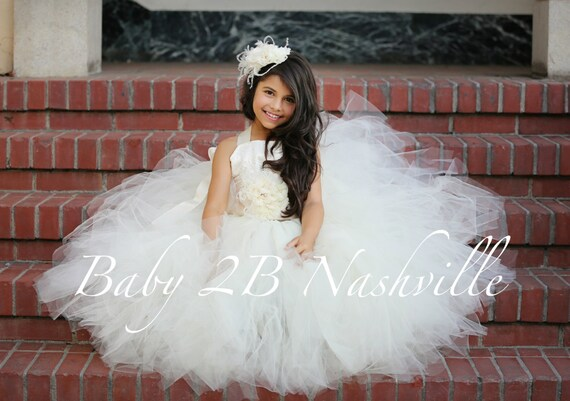 Ivory Dress Lace Dress Satin Dress Party Dress Flower Girl  Dress with Chiffon Flower Sash Tutu Dress Tulle Dress  All Dress Sizes Girls
