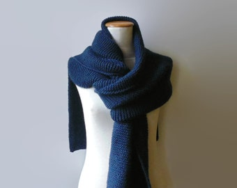 Navy Blue Wool Extra Long Scarf, Knit Shawl, Blanket Hand Knit Scarf, Huge, Mens, Wrap, Winter, Womens Scarves, Prussian Blue, Soft Scarf