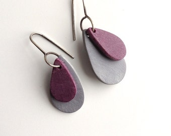 Teardrop earrings, burgundy, wine, grey, small, handmade,