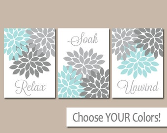 Aqua Gray Bathroom Wall Art Canvas Or Print Bathroom Pictures Relax Soak Unwind Flower Burst Artwork