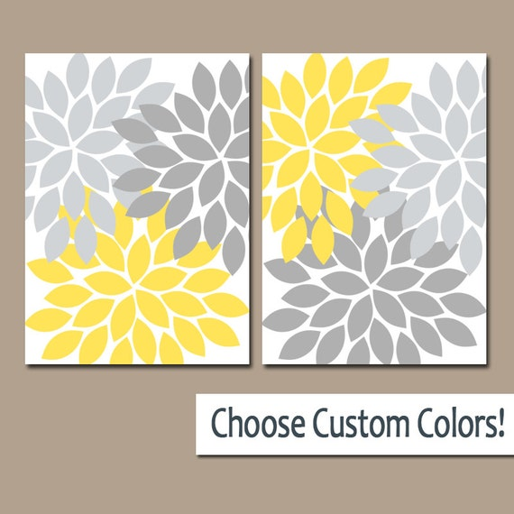 YELLOW GRAY WALL Art Canvas or Prints Yellow Gray Bathroom