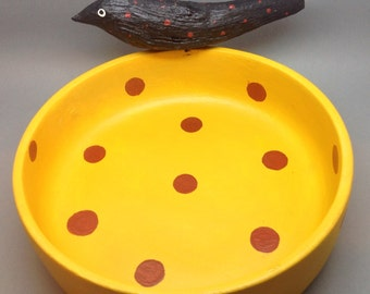 Carved Halloween Crow Bowl, Carved Driftwood Crow on Vintage Bowl, Primitive Polka Dots Vintage Bowl