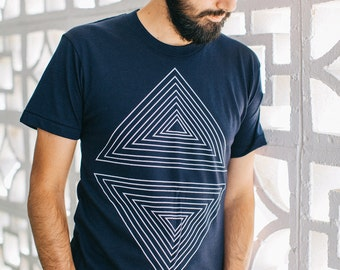 Mens graphic tee | tshirt for men - nautical stripes - geometric triangle print on navy blue - fathers day | for dad - Rule of Thirds