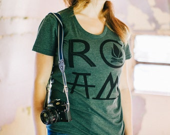 ROAM women's tshirt - graphic tee women - camping print on forest green - gift for travelers - ladies top - camping shirt by Blackbird Tees