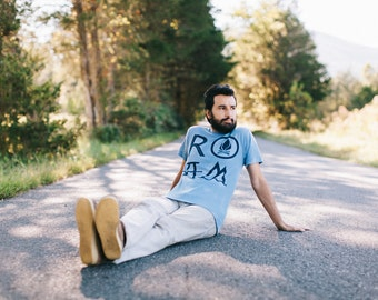 Mens graphic tee, t shirt men, outdoor summer shirt, mens tshirts, ROAM camping shirt on heather blue, wanderlust shirt for him - CLOSEOUT