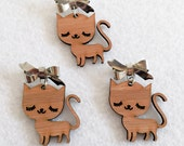Sleepy Kitty Brooch - Wooden Bamboo Pin