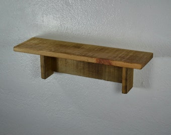 "Small reclaimed wood wall shelf with wax finish 18"" long  x 5"" deep"