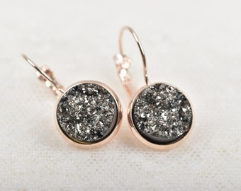Rose Gold Druzy Earrings, DARK SILVER Druzy Earrings, Rose Gold Earrings, Bridesmaid Earrings ...