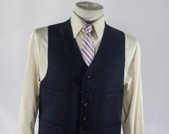 Men's Suit Vest / Vintage Navy Blue Waistcoat / Size 41 Large - XL   #2062