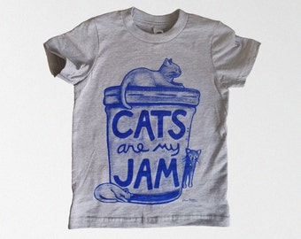Kids Cat T-shirt, Cats are my Jam : graphic tee, cat print shirt unisex kids clothes, toddler gift, gift for kids, 4 year old birthday shirt